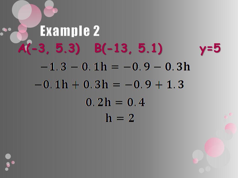 A(-3, 5.3) B(-13, 5.1) y=5