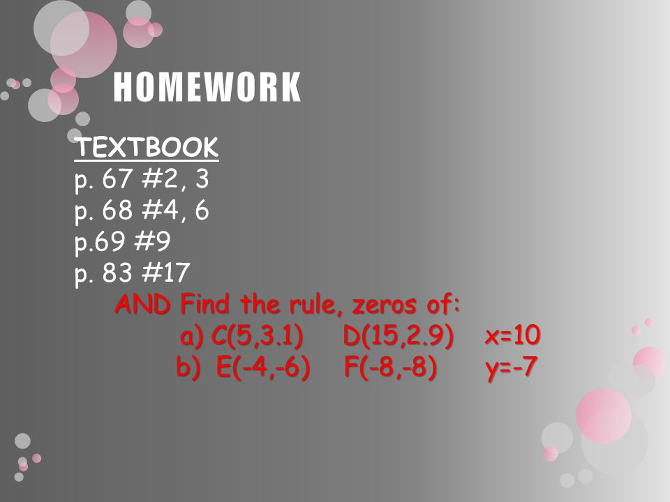 TEXTBOOK p. 67 #2, 3 p. 68 #4, 6 p.69 #9 p. 83 #17 AND Find the rule, zeros of: AND Find the rule, zeros of: a) C(5,3.1) D(15,2.9) x=10 a) C(5,3.1) D(