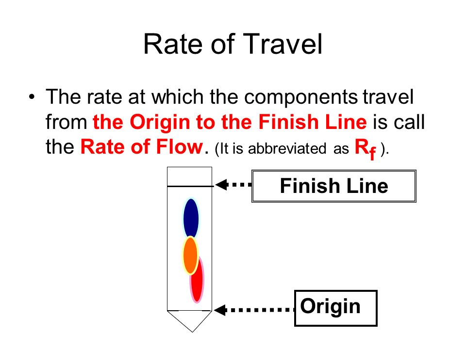 How to Calculate Rate of Flow 1.Find the center of each component of the dye and mark it on the paper.