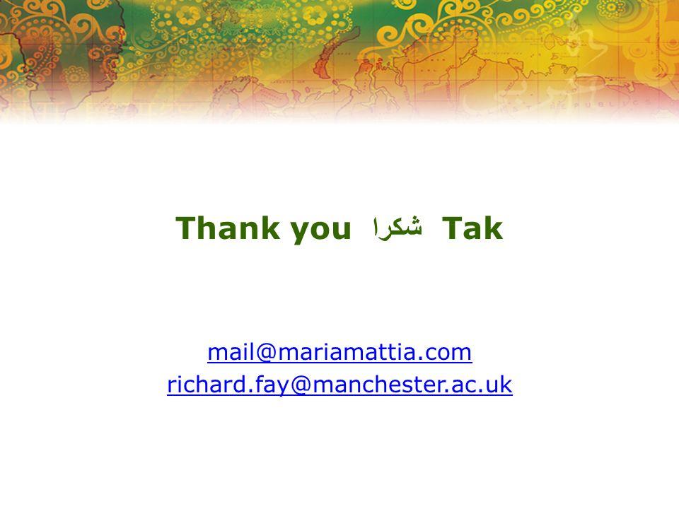 Thank you شكرا Tak mail@mariamattia.com richard.fay@manchester.ac.uk