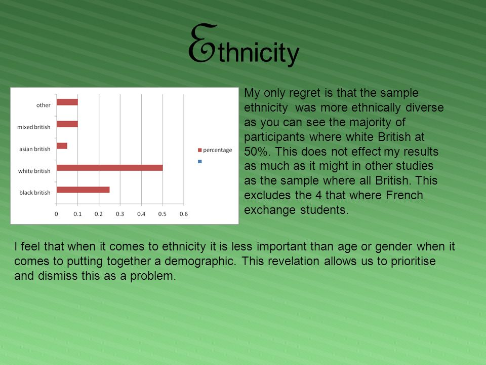 E thnicity My only regret is that the sample ethnicity was more ethnically diverse as you can see the majority of participants where white British at 50%.