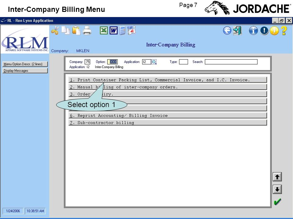 Page 7 Inter-Company Billing Menu Select option 1