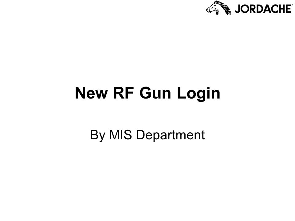 New RF Gun Login By MIS Department