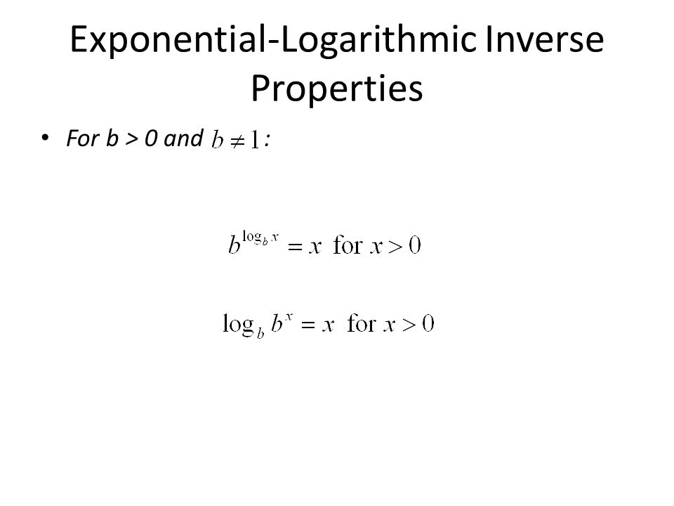 Exponential-Logarithmic Inverse Properties For b > 0 and :