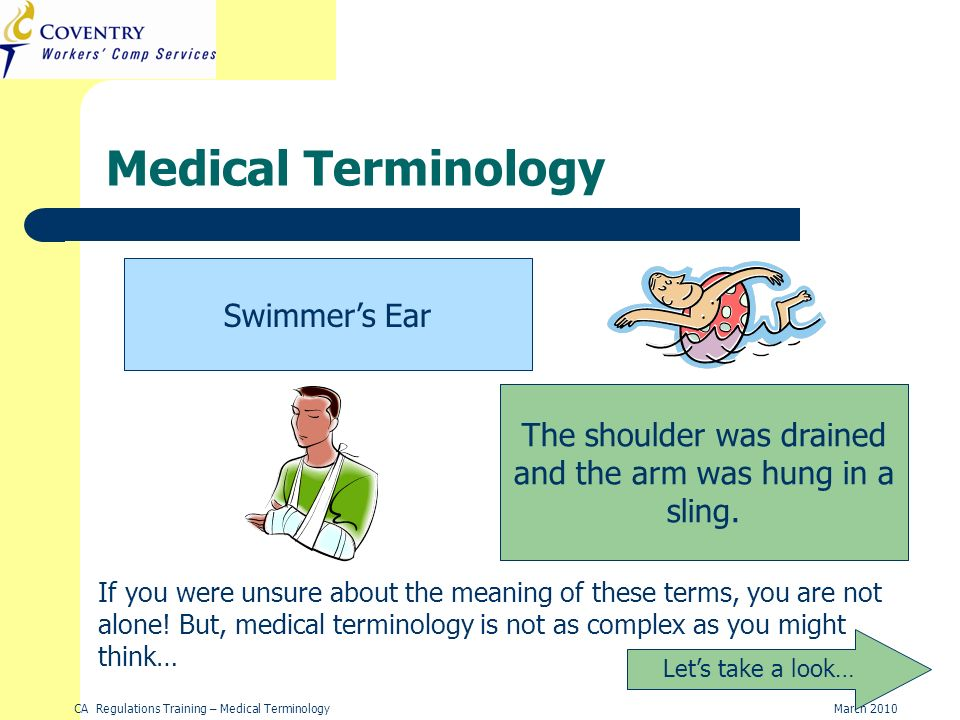 CA Regulations Training – Medical TerminologyMarch 2010 Suffixes ConditionSuffixExample Pain-algiaFibromyalgia Hernia-celeRectocele Inflammation-itisAppendicitis Abnormal condition -osisScoliosis In the blood-emiaSepticemia Tumor-omaLymphoma Disease or Condition