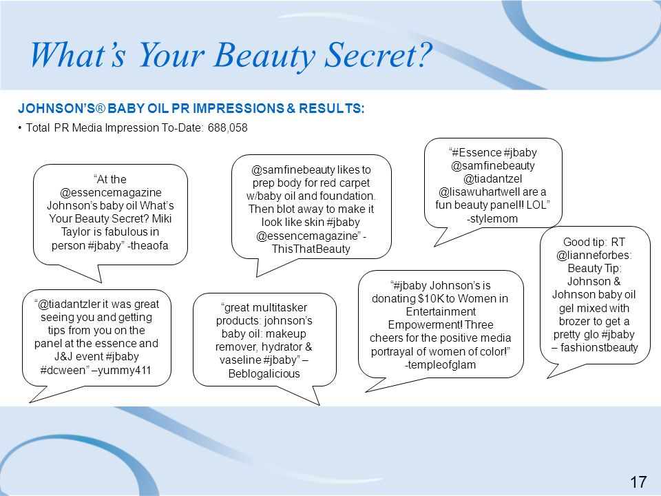 JOHNSONS® BABY OIL PR IMPRESSIONS & RESULTS: Total PR Media Impression To-Date: 688,058 Whats Your Beauty Secret? At the @essencemagazine Johnsons bab