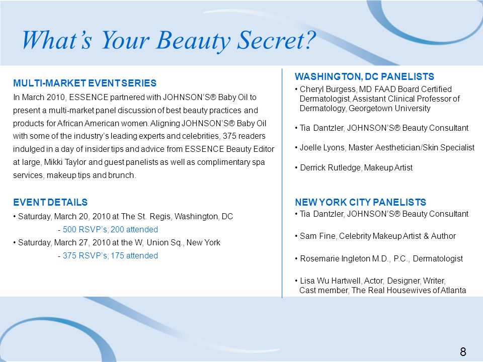 Whats Your Beauty Secret? MULTI-MARKET EVENT SERIES In March 2010, ESSENCE partnered with JOHNSONS® Baby Oil to present a multi-market panel discussio