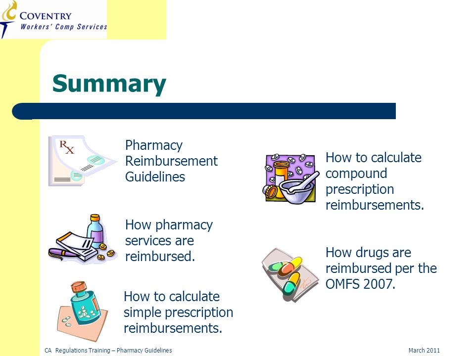 March 2011CA Regulations Training – Pharmacy Guidelines Summary Pharmacy Reimbursement Guidelines How pharmacy services are reimbursed.