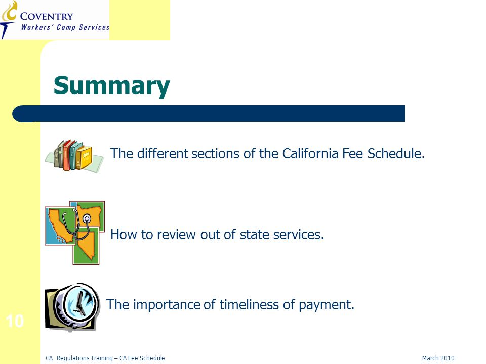 CA Regulations Training – CA Fee ScheduleMarch 2010 10 Summary The different sections of the California Fee Schedule.