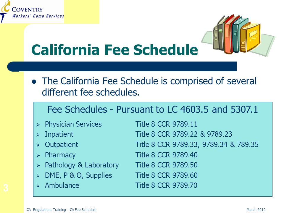 CA Regulations Training – CA Fee ScheduleMarch 2010 3 California Fee Schedule The California Fee Schedule is comprised of several different fee schedules.