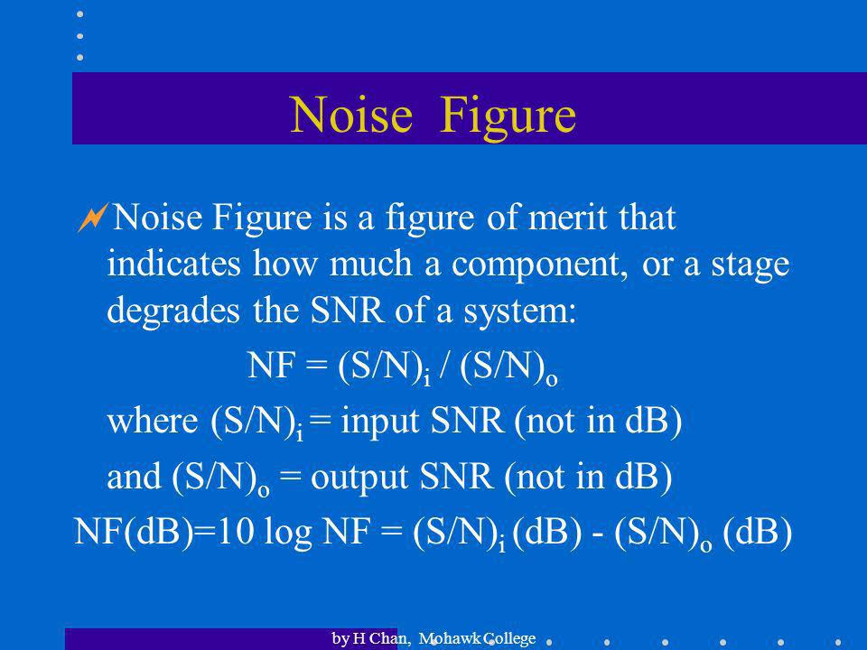 by H Chan, Mohawk College Signal-to-Noise Ratio An important measure in communications is the signal-to-noise ratio (SNR or S/N). It is often expresse