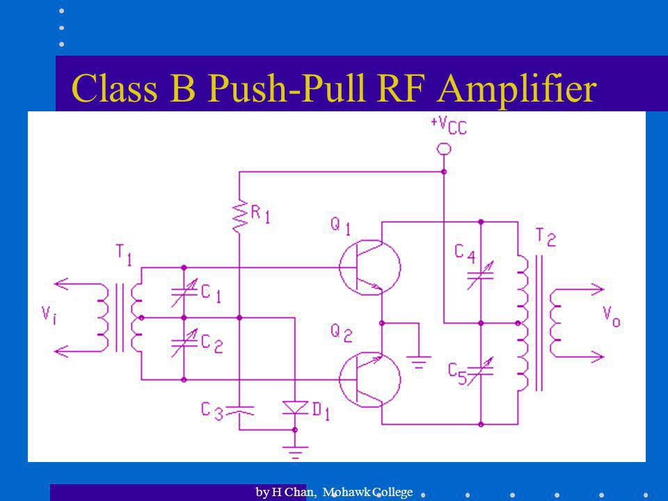 by H Chan, Mohawk College Amplifier Classes An amplifier is classified as: Class A if it conducts current throughout the full input cycle (i.e. 360 o