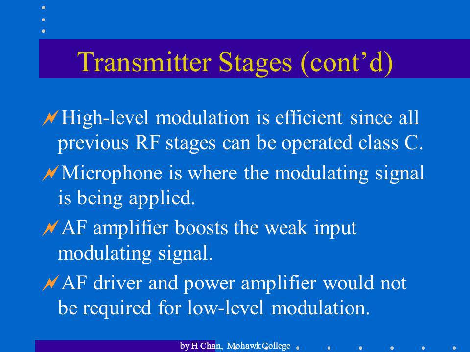 by H Chan, Mohawk College Transmitter Stages (contd) RF voltage amplifier boosts the voltage level of the carrier. It could double as a modulator if l
