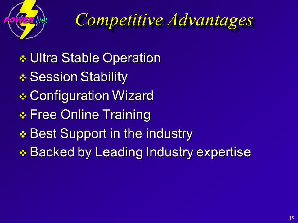15 POWER Net Competitive Advantages Ultra Stable Operation Ultra Stable Operation Session Stability Session Stability Configuration Wizard Configuration Wizard Free Online Training Free Online Training Best Support in the industry Best Support in the industry Backed by Leading Industry expertise Backed by Leading Industry expertise Ultra Stable Operation Ultra Stable Operation Session Stability Session Stability Configuration Wizard Configuration Wizard Free Online Training Free Online Training Best Support in the industry Best Support in the industry Backed by Leading Industry expertise Backed by Leading Industry expertise