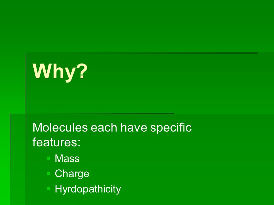 Why? Molecules each have specific features: Mass Charge Hyrdopathicity