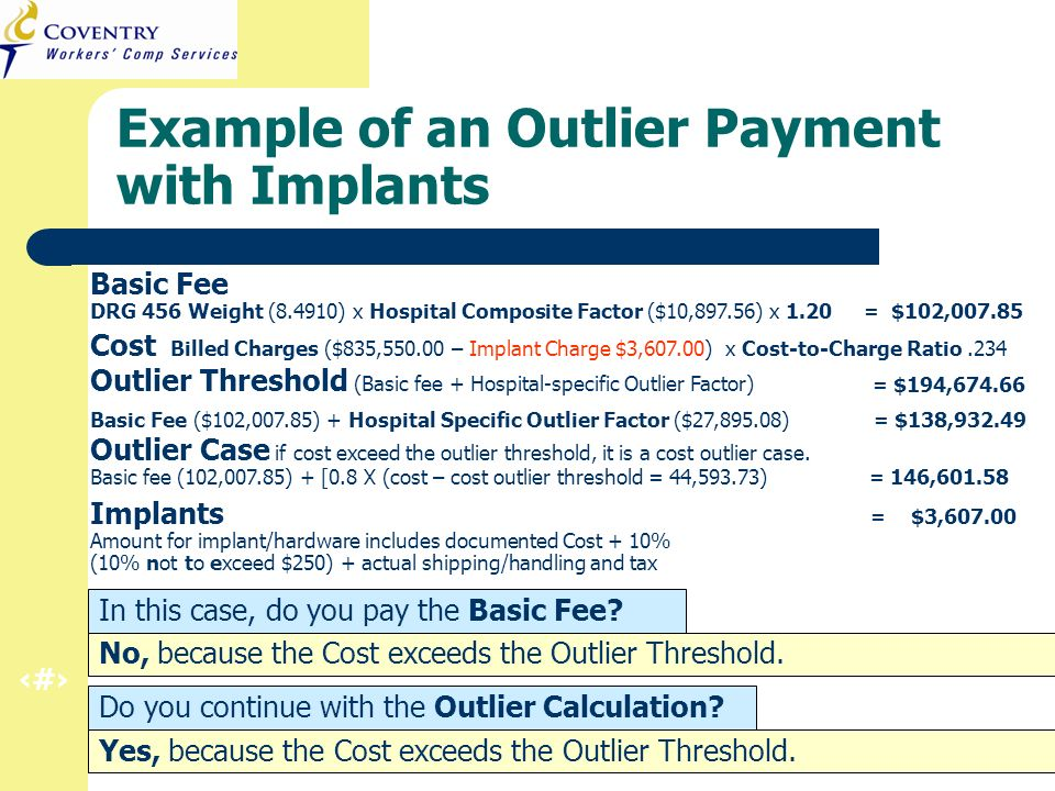27 CA Regulation Refresher – Inpatient Hospital March 2011 Example of an Outlier Payment with Implants In this case, do you pay the Basic Fee? Do you