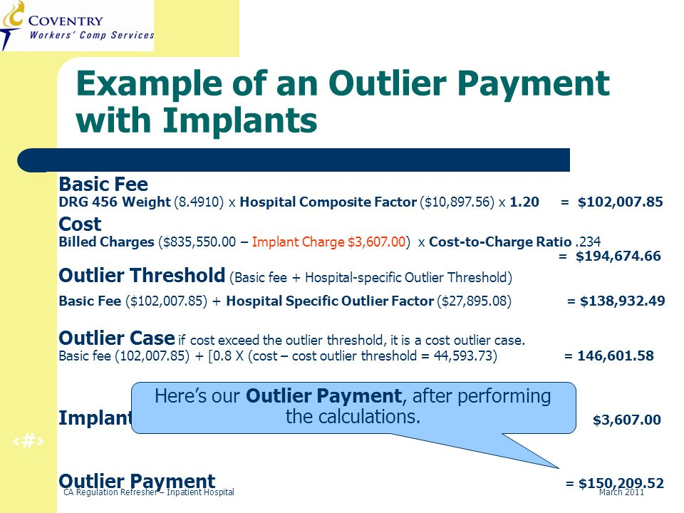 29 CA Regulation Refresher – Inpatient Hospital March 2011 Outlier Case if cost exceed the outlier threshold, it is a cost outlier case. Basic fee (10