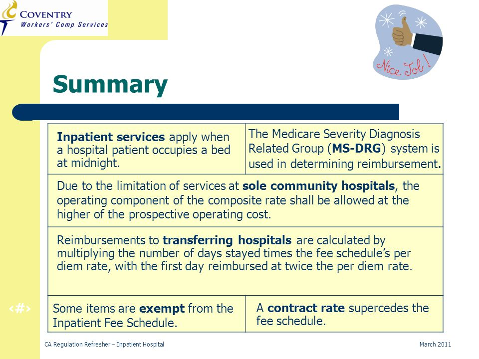 45 CA Regulation Refresher – Inpatient Hospital March 2011 Summary Due to the limitation of services at sole community hospitals, the operating compon