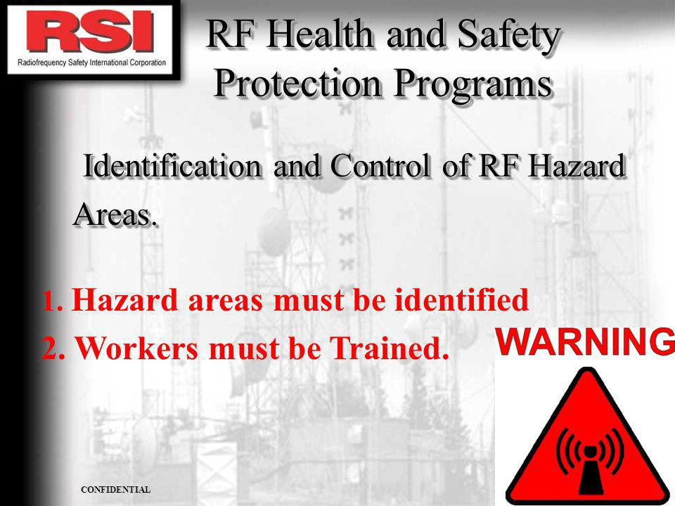 CONFIDENTIAL R.S.I. CORPORATION RF Health and Safety Protection Programs Identification and Control of RF Hazard Areas. Areas. Identification and Cont