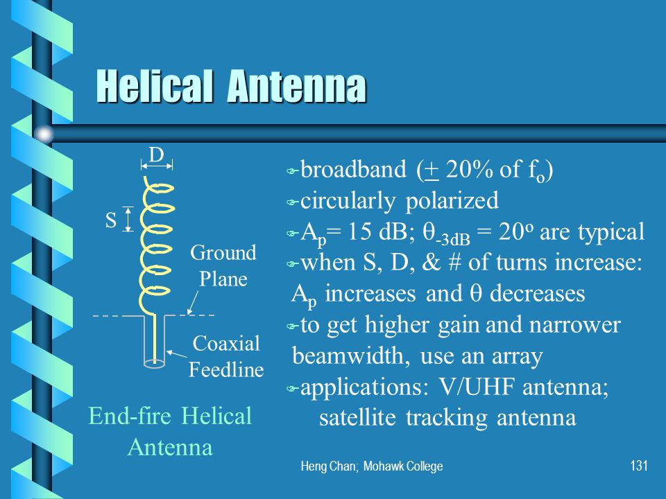 Heng Chan; Mohawk College131 Helical Antenna S D Ground Plane Coaxial Feedline End-fire Helical Antenna F broadband (+ 20% of f o ) F circularly polar