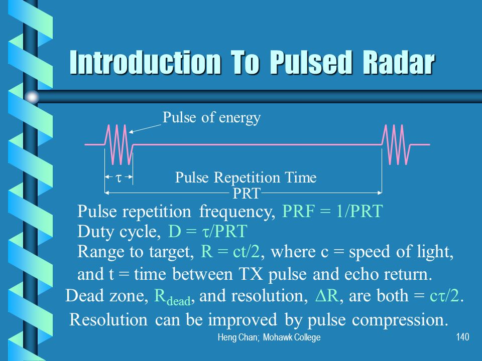 Heng Chan; Mohawk College140 Introduction To Pulsed Radar PRT Pulse of energy Pulse Repetition Time Pulse repetition frequency, PRF = 1/PRT Range to t