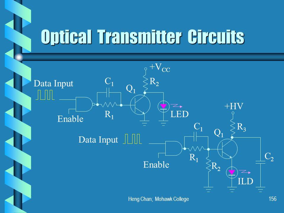 Heng Chan; Mohawk College156 Optical Transmitter Circuits +V CC Data Input Enable C1C1 R1R1 LED Q1Q1 R2R2 +HV ILD C2C2 Enable C1C1 R1R1 Q1Q1 R2R2 R3R3