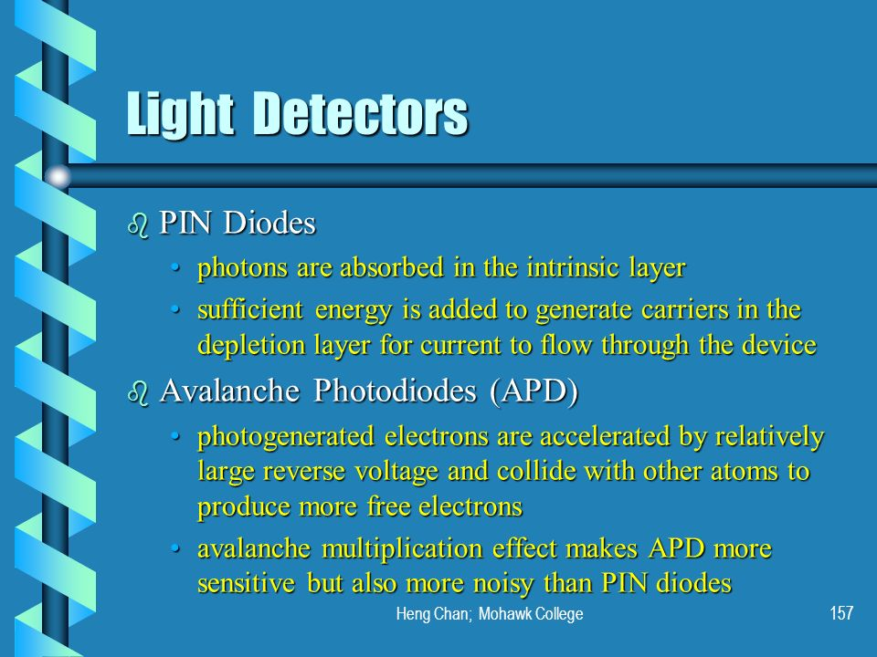 Heng Chan; Mohawk College157 Light Detectors b PIN Diodes photons are absorbed in the intrinsic layerphotons are absorbed in the intrinsic layer suffi