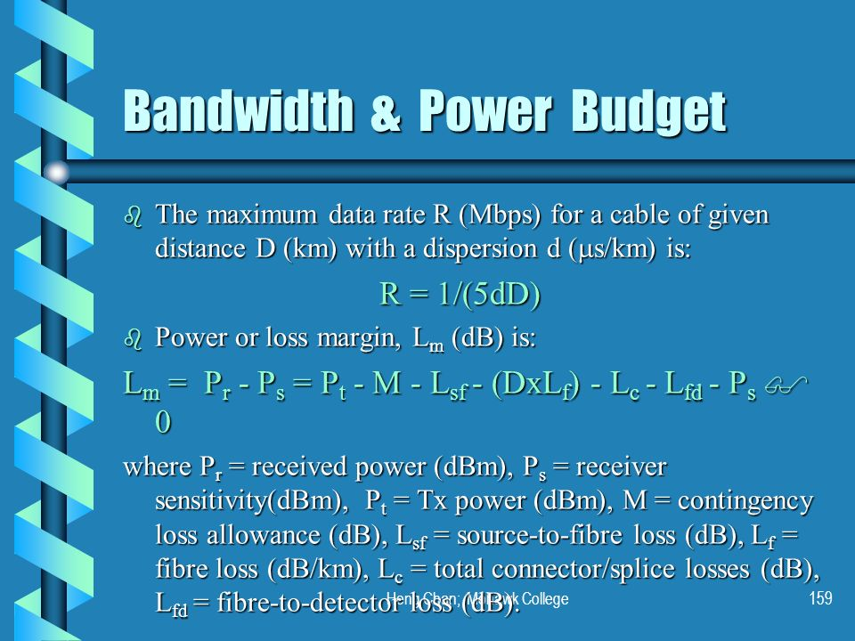Heng Chan; Mohawk College159 Bandwidth & Power Budget The maximum data rate R (Mbps) for a cable of given distance D (km) with a dispersion d ( s/km)