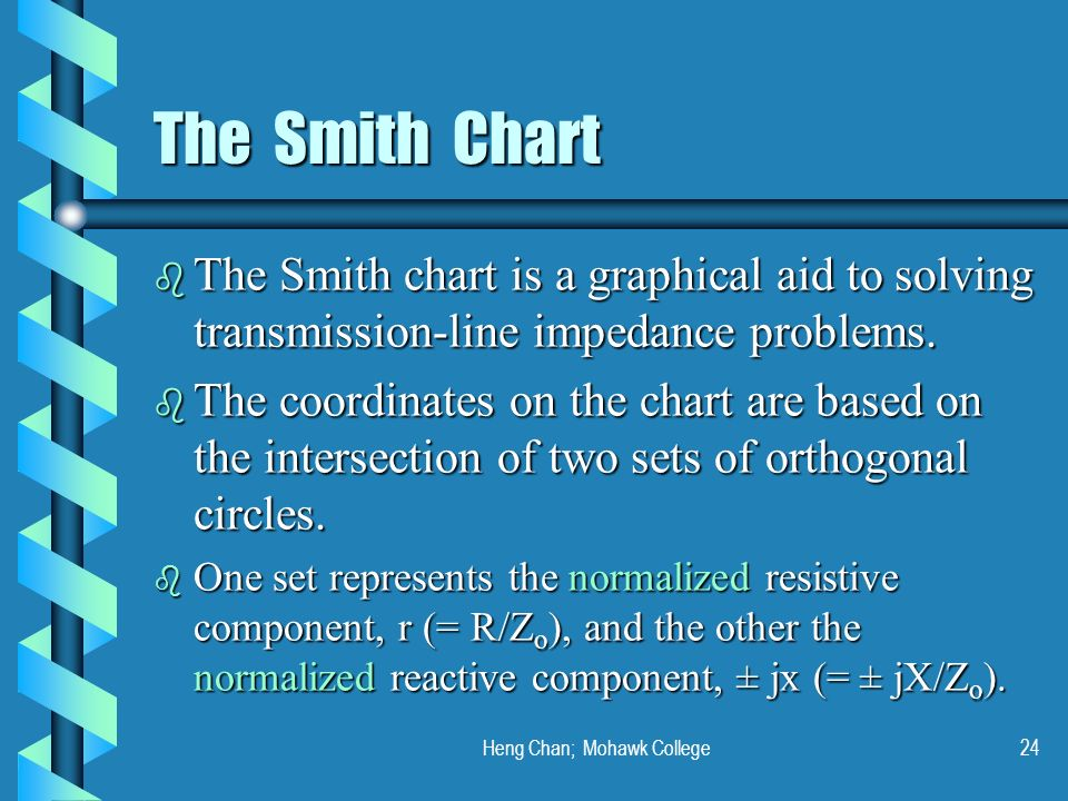 Heng Chan; Mohawk College24 The Smith Chart b The Smith chart is a graphical aid to solving transmission-line impedance problems. b The coordinates on
