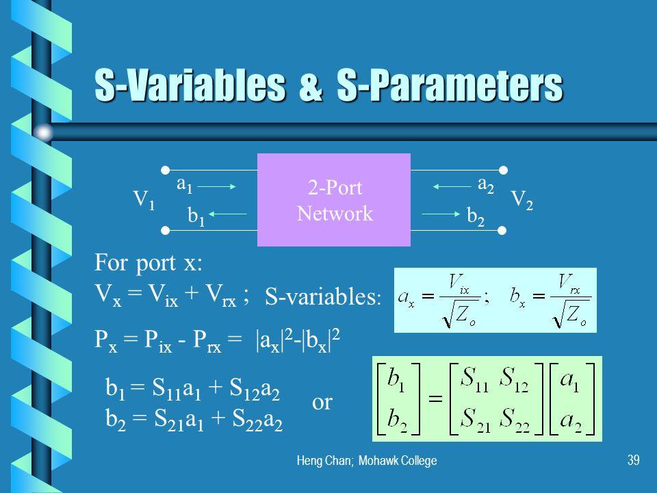 Heng Chan; Mohawk College39 S-Variables & S-Parameters a1a1 b1b1 b2b2 a2a2 V1V1 V2V2 For port x: V x = V ix + V rx ; S-variables : P x = P ix - P rx =