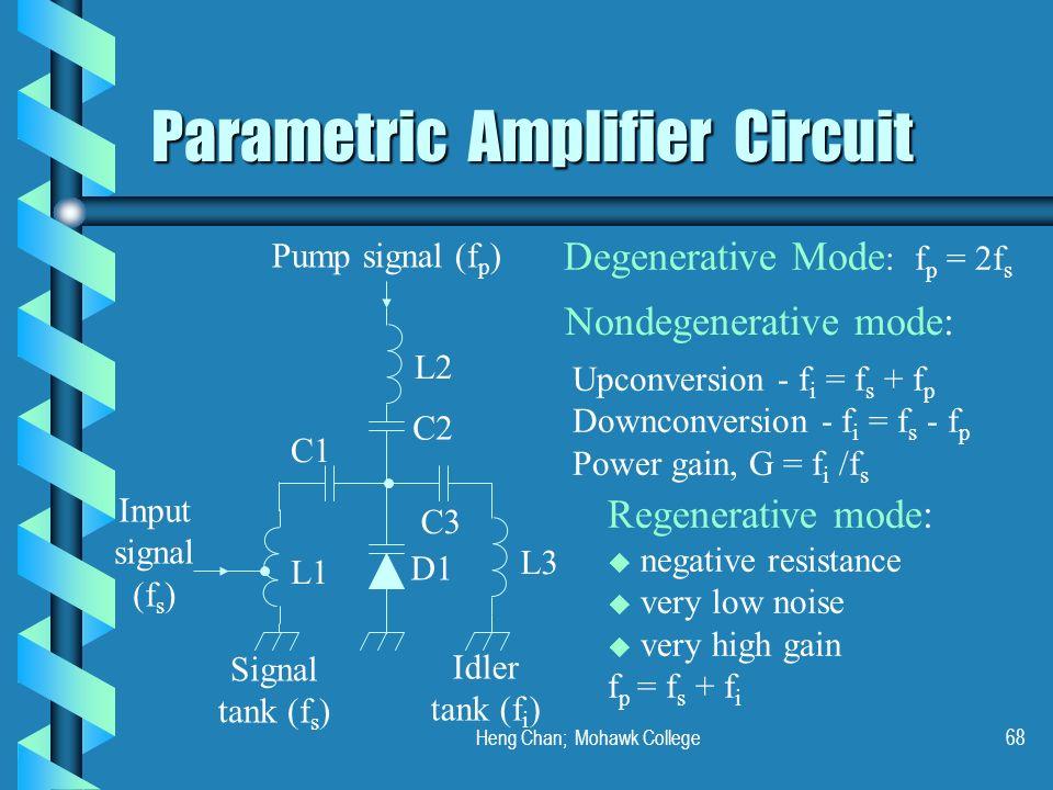 Heng Chan; Mohawk College68 Parametric Amplifier Circuit Pump signal (f p ) Input signal (f s ) L1 C1 C2 L2 D1 L3 C3 Signal tank (f s ) Idler tank (f