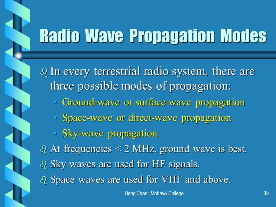 Heng Chan; Mohawk College99 Radio Wave Propagation Modes b In every terrestrial radio system, there are three possible modes of propagation: Ground-wa