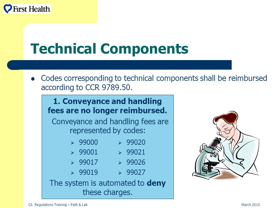 CA Regulations Training – Path & LabMarch 2010 Technical Components Codes corresponding to technical components shall be reimbursed according to CCR 9789.50.