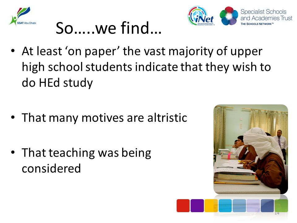 So…..we find… At least on paper the vast majority of upper high school students indicate that they wish to do HEd study That many motives are altristi