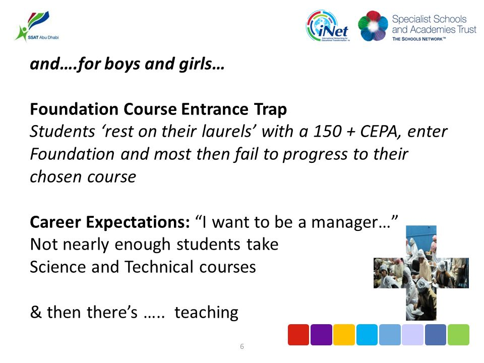 6 and….for boys and girls… Foundation Course Entrance Trap Students rest on their laurels with a 150 + CEPA, enter Foundation and most then fail to progress to their chosen course Career Expectations: I want to be a manager… Not nearly enough students take Science and Technical courses & then theres …..