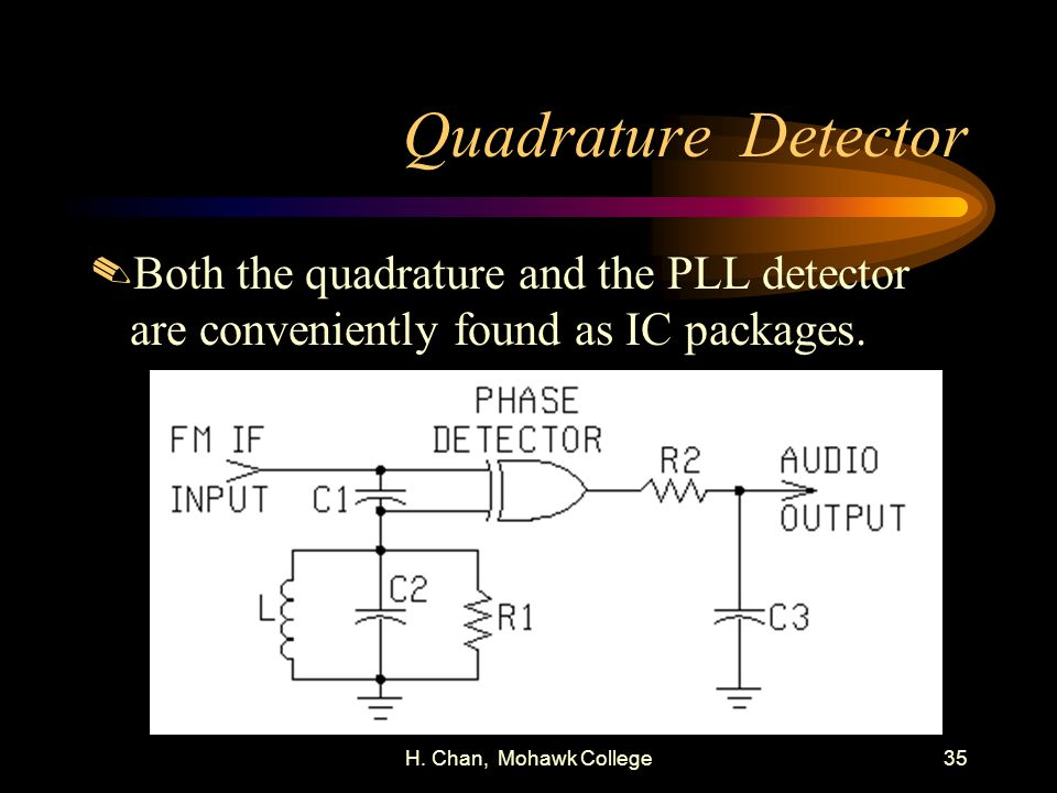 H. Chan, Mohawk College35 Quadrature Detector.Both the quadrature and the PLL detector are conveniently found as IC packages.