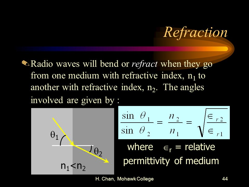H. Chan, Mohawk College44 Refraction.Radio waves will bend or refract when they go from one medium with refractive index, n 1 to another with refracti
