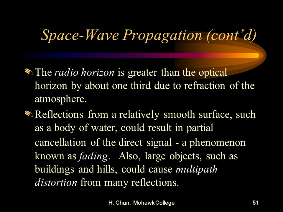 H. Chan, Mohawk College51 Space-Wave Propagation (contd).The radio horizon is greater than the optical horizon by about one third due to refraction of