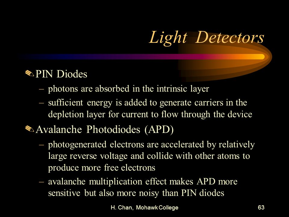 H. Chan, Mohawk College63 Light Detectors.PIN Diodes –photons are absorbed in the intrinsic layer –sufficient energy is added to generate carriers in