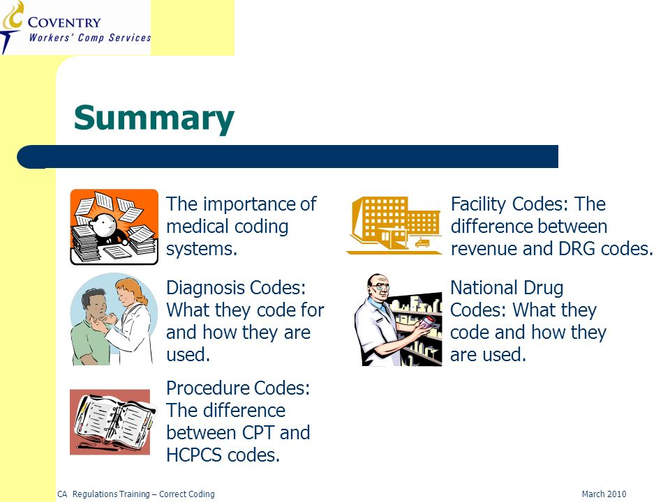 CA Regulations Training – Correct CodingMarch 2010 Summary Diagnosis Codes: What they code for and how they are used. Procedure Codes: The difference