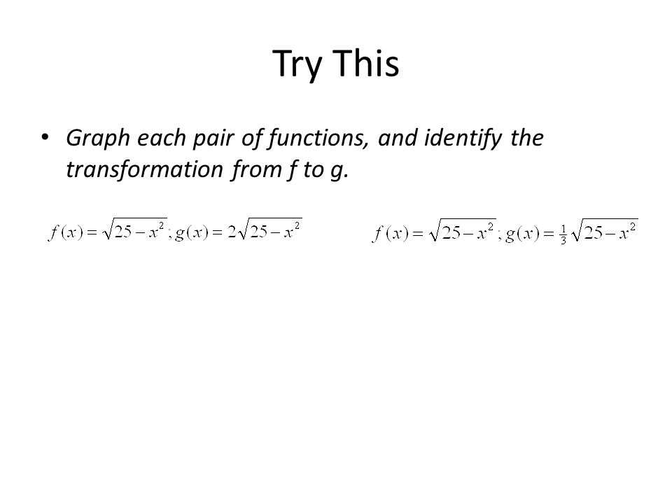 Try This Graph each pair of functions, and identify the transformation from f to g.