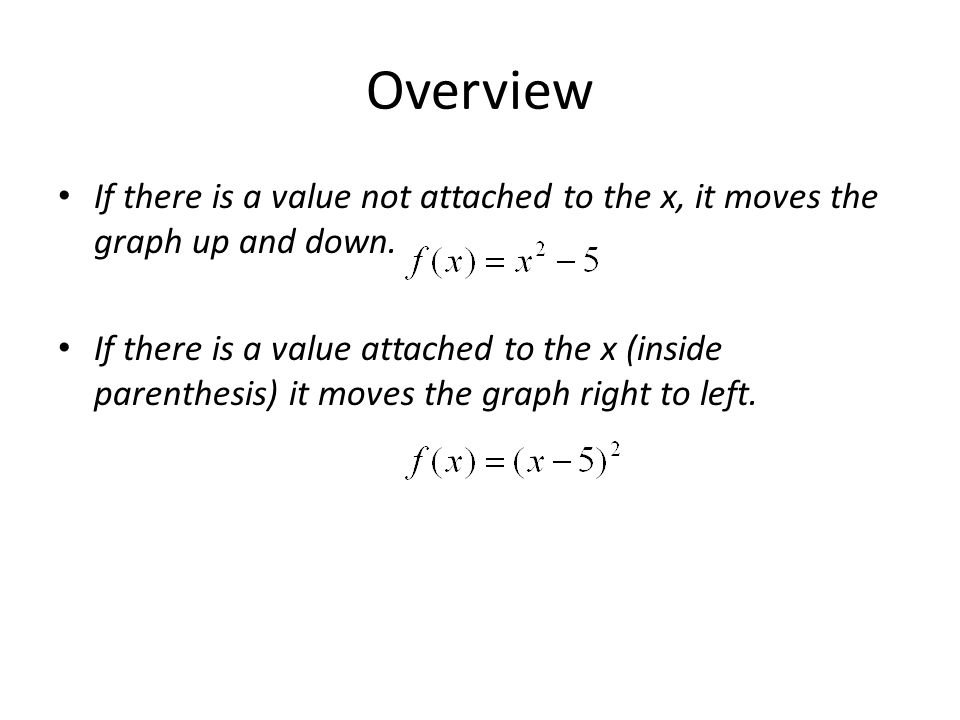 Overview If there is a value not attached to the x, it moves the graph up and down.