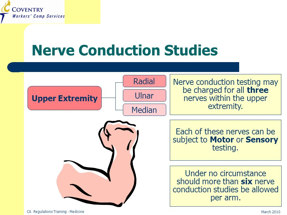 CA Regulations Training - Medicine March 2010 Nerve conduction testing may be charged for all three nerves within the upper extremity. Each of these n