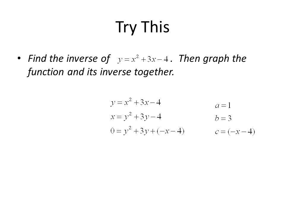 Try This Find the inverse of. Then graph the function and its inverse together.