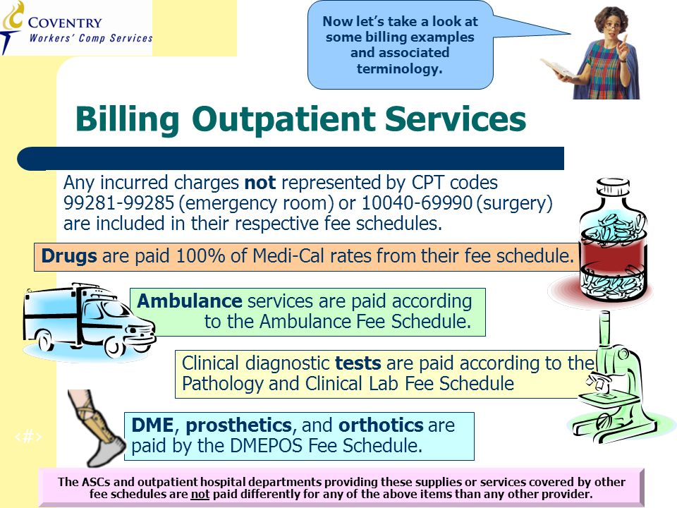 10 CA Regulation Refresher Training March 2010 Drugs are paid 100% of Medi-Cal rates from their fee schedule. Ambulance services are paid according to