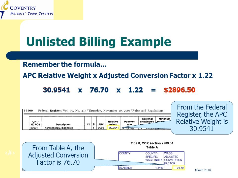 17 CA Regulation Refresher Training March 2010 30.9541 x 76.70 x 1.22 = $2896.50 Unlisted Billing Example Remember the formula… APC Relative Weight x