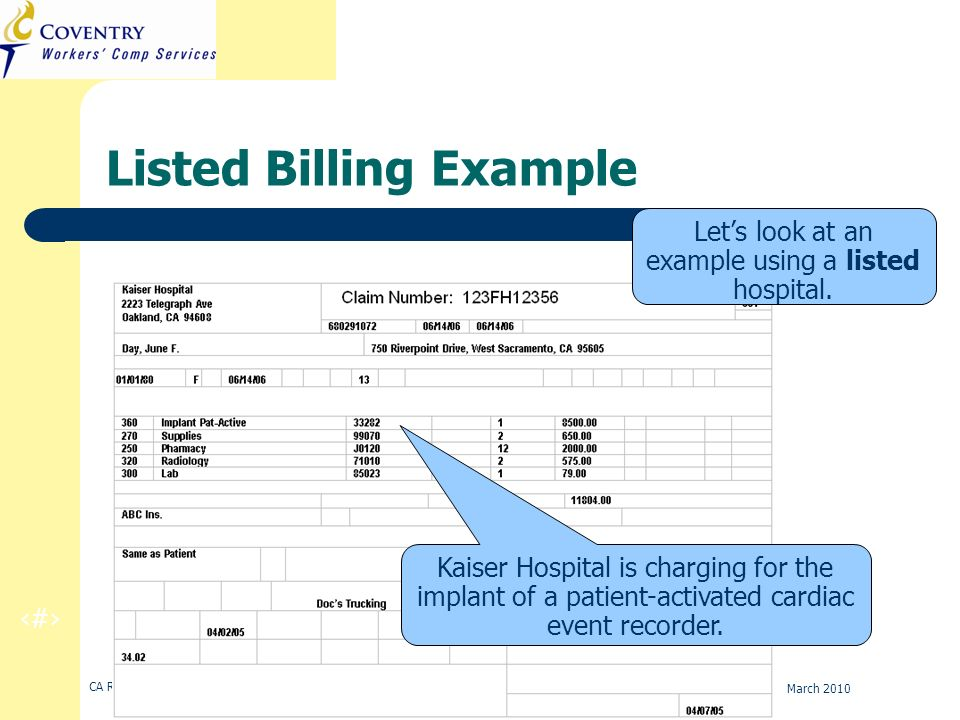 19 CA Regulation Refresher Training March 2010 Listed Billing Example Lets look at an example using a listed hospital. Kaiser Hospital is charging for