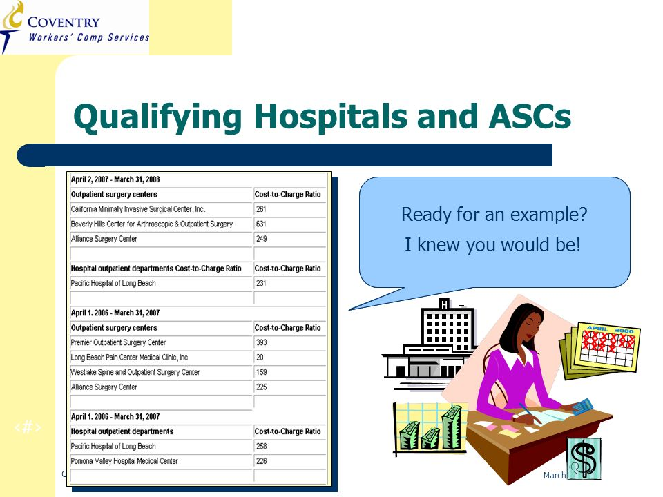 25 CA Regulation Refresher Training March 2010 Qualifying Hospitals and ASCs This is a list of qualifying hospitals and ASCs, with their respective co