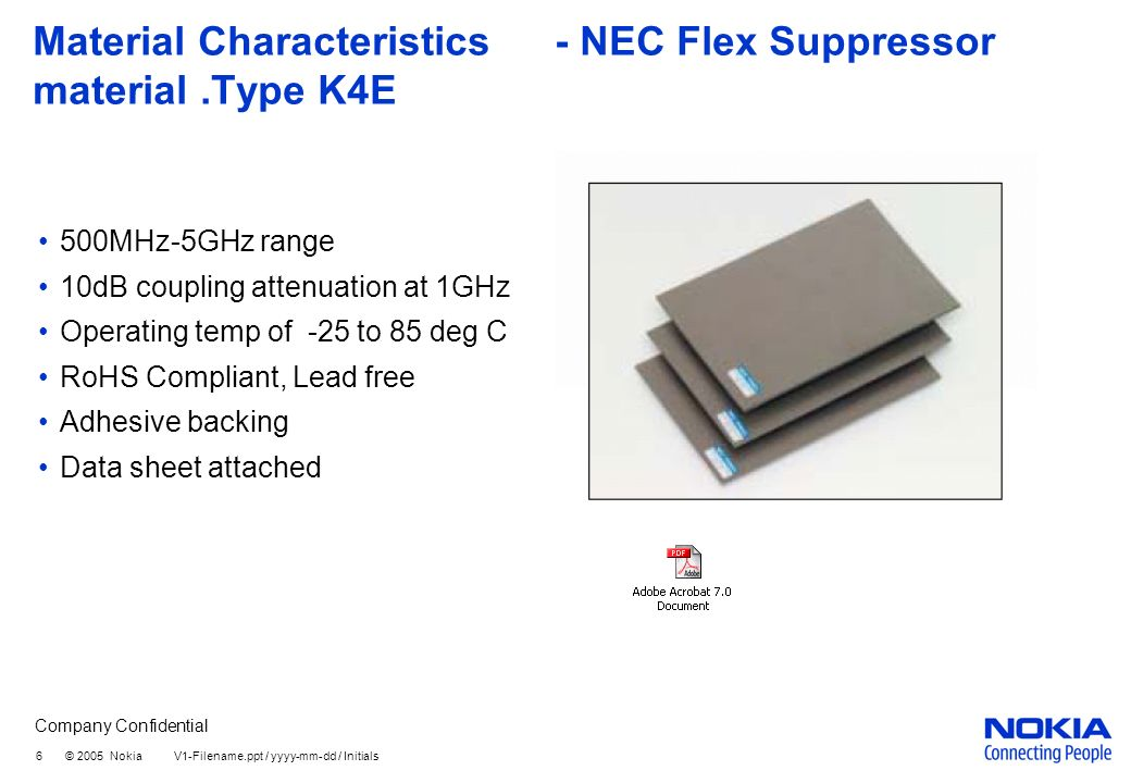 Company Confidential 7 © 2005 Nokia V1-Filename.ppt / yyyy-mm-dd / Initials Production Feasibility of Flex Absorber Absorber can be pre cut to size for easy and simple installation in production after SMD process.