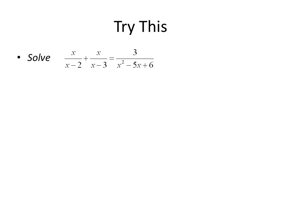 Try This Solve
